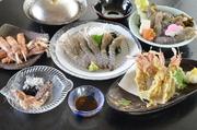 茹で、刺身、天ぷら、フライ、しゃぶしゃぶ、シャココース料理(ご予約ください)もあります。