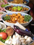 季節の野菜を使ったいろり自慢の煮物です。毎日日替わりで約40種類の中より3品ご用意しています。