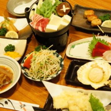 あったか美味しい いろりにおまかせ3000円(税別)コース