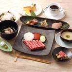 先付 前菜3種盛り すき焼肉150g 野菜盛合せ うどん シャーベット 珈琲or紅茶