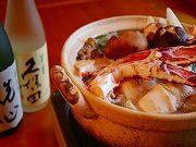 口取り、茶碗蒸し、お造り、焼き物、蟹天ぷら、蟹1人鍋、ご飯、香物、甘味