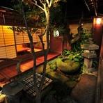 夜は庭園がライトアップされます