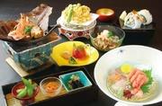 先付・本日の一品・お造り・焼き八寸・揚げ物・酢の物・台物・寿司5貫・デザートなど全9品