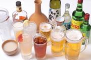 生ビール、焼酎ボトル(眞露、白水、黒胡宝)、酎ハイ・サワー各種、ウイスキー、カクテル、ソフトドリンク