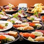 朝獲れ鮮魚の刺盛&旬野菜の天麩羅が楽しめる特撰寿司宴会コース