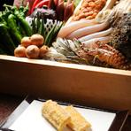 旬の京野菜や明石瀬戸内の鮮魚等を贅沢に京風天ぷらに