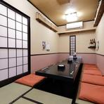 和の情緒が感じられる、落ち着いた佇まいの個室が4部屋