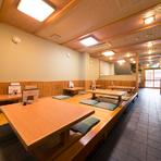 店内は広い座敷席が中心。ファミリー客の利用にも便利です。