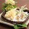 『アスパラと茗荷の天麩羅』+『海老天』、季節の旬の天ぷらに