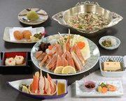 前菜、かに豆腐、かに酢、かにしゅうまい、磯辺揚げ、ぞうすい、香の物、デザート