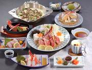 前菜、かに豆腐又は茶碗蒸し、タラバかに酢、タラバ造り、タラバステーキ、天婦羅、ぞうすい、デザート