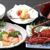 大型伊勢エビ2本付き♪茹で・刺身・天ぷら・味噌汁のコース料理