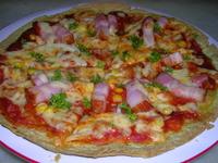 ほうれん草のペーストをご飯と炒めて、厚切りのベーコンとサラダを添えてワンプレートに。