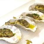 牡蠣のムニエル、香味バターソース