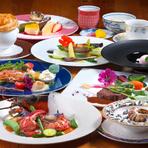 お魚料理とステーキを楽しめる、人気のぎんぎんのスタンダードメニューです。