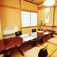 老舗の雰囲気を味わいながらの御接待、顔合わせなど大事なシーンからちょっと贅沢な会食まで様々なシーンでご利用可能な「全7室」完全個室完備で御座います。