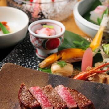 朱華(はねず) 人気の鹿児島牛ステーキ付の懐石コース