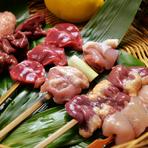 国産地鶏を備長炭で焼く『やきとり』に、日本酒がすすみます