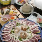 季節野菜と合鴨のしゃぶしゃぶコース。宴会・接待にご利用下さい