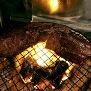 炭焼き牛サガリ(ハラミ)のステーキ