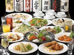 さん太お奨めのコースは、なんと品数13品! お刺身、天ぷら、貝料理、豚平焼などなど。