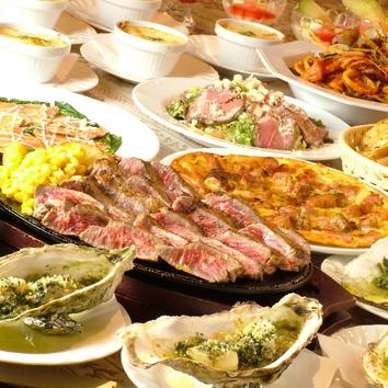 豪快ステーキ&にんにく料理コース(飲放付)主賓にサプライズ付