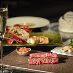 大切な人との記念日に。シャンパンで乾杯後はキャビア、伊勢海老などの豪華食材にケーキも付いたプランです