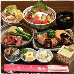 海座自慢の鮪温玉丼と、岐阜県名産の『牛・豚』がお値打ちに楽しめるコースです。