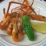 鰻の前の一品料理に『川海老の唐揚』