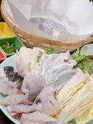 竹籠と和紙で出来たお鍋を使ったコース