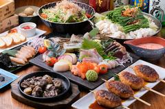 歓迎会や打ち上げなどとっておきのご宴会に!熊本直送馬刺し三点盛りがついた豪華コースとなっております。
