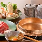 吉亭オリジナル調理のすき焼き基本コース