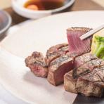 牛肉の中でも希少部位のヒレは、非常に柔らかな味わい。サシが入っているのにしつこくない。