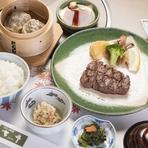 小鉢・冷しゃぶサラダ・和風ステーキ100g・牛焼売・味噌椀・香物・ご飯