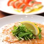 ホタテのカルパッチョ&トマトとモッツァレラのカプレーゼ
