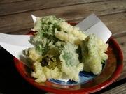 地元の採れたて野菜、旬の野菜、キノコなどの天ぷら盛合せ。仕入れにより内容は変わるのでお楽しみに。