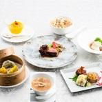 当日の食材を吟味してメニューを組み立てます。 前菜、ふかひれスープ、デザートを含む全7品。