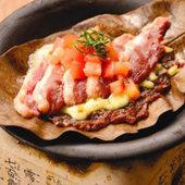 国産雌鴨の朴葉味噌チーズ焼き