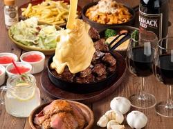 圧倒的ボリューム メインは大胆に「1ポンド肉」を使用!「映え」必至の大迫力のステーキor肉鍋をご用意