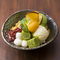 わらび餅と白玉と抹茶アイスのkawaraパフェ