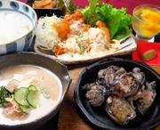 【お料理内容】 ・霧島鶏のもも焼き ・チキン南蛮 ・冷や汁 ・香の物 ・季節のデザート