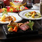 お店自慢の黒毛和牛ステーキをメインとしたフルコース。シェフおすすめの前菜やスープ、高級食材・ロブスターや帆立貝の鉄板焼きなどが楽しめる、大変お得なコースです。