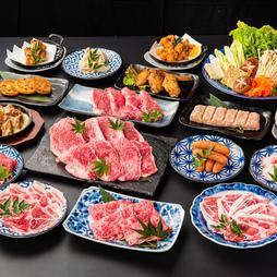 <平日120分/金土祝前日90分>定番のお肉をしゃぶしゃぶでご提供。50種類以上のドリンクが飲み放題