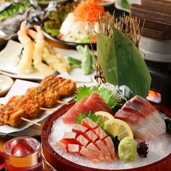 お刺身大漁盛り5種、魚介のホイル焼きなどが付いた旬大漁造り5種盛豪華コース!