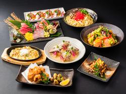 豪華お造り5種盛合わせ・天ぷら盛り合わせ・鯛釜飯など全10品のコース料理が付いた店長一押し宴会コース♪