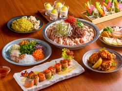 夏の期間限定のコースです!季節の食材と4種の鮮魚を使用したお造りがついての全9品!