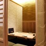 バリエーション豊富な個室は、最大48人まで利用可能