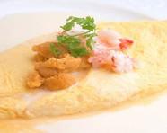 雲丹とずわい蟹のチーズオムレツ