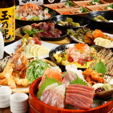 3時間飲み放題 丹波牛炙り焼&にぎり寿司2種【錦コース!!6500円】全席個室 接待にも◎