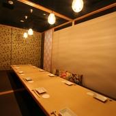 風情溢れる和テイストの完全個室が非日常を提供。